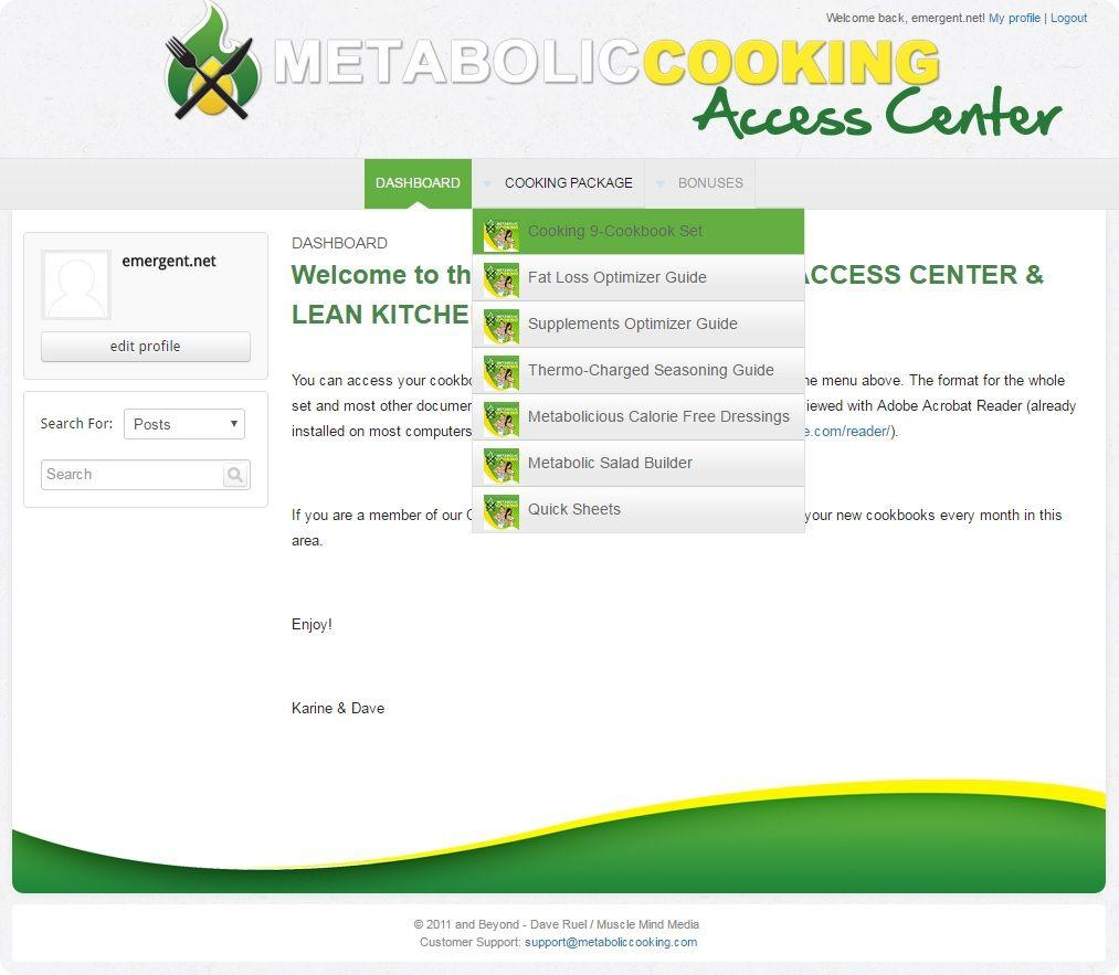 metabolic cooking access center login details